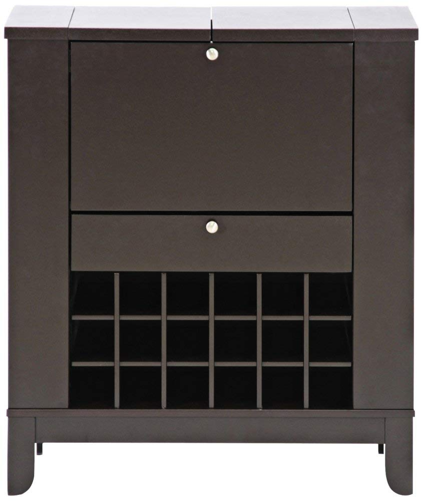 Baxton Studio Modesto Brown Modern Dry Bar and Wine Cabinet, Medium, Dark brown by Baxton Studio