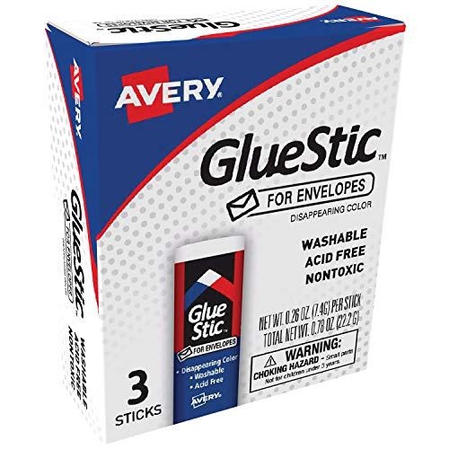 (Avery Glue Stic for Envelopes, Disappearing Purple Color, 0.26 oz., Nontoxic, Permanent Adhesive, 3 Glue Sticks (00134) )