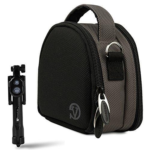 SJCAM SJ5000 Series (SJ5000 SJ5000 Wifi SJ5000+ SJ5000X Elite M20) Sports Action Camera Steel Gray Carrying Shock Proof Bag Case + Bluetooth Monopod Selfie Stick