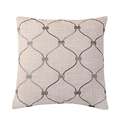 "Calla Angel CAPDMX15011 Silver Gray Embroidered Trellis Throw Pillow,Silver Gray,18"" X 18"" - Fill included: 100Percent polyester. Premium Quality fill. Weight count higher than average Embroidery: woven of Acrylic or Rayon. Artful pattern is highly detailed Cover is removable; on-seam zipper; knife-edge tailoring. Reverses to Solid neutral - living-room-soft-furnishings, living-room, decorative-pillows - 517SDKXQ8tL. SS400  -"