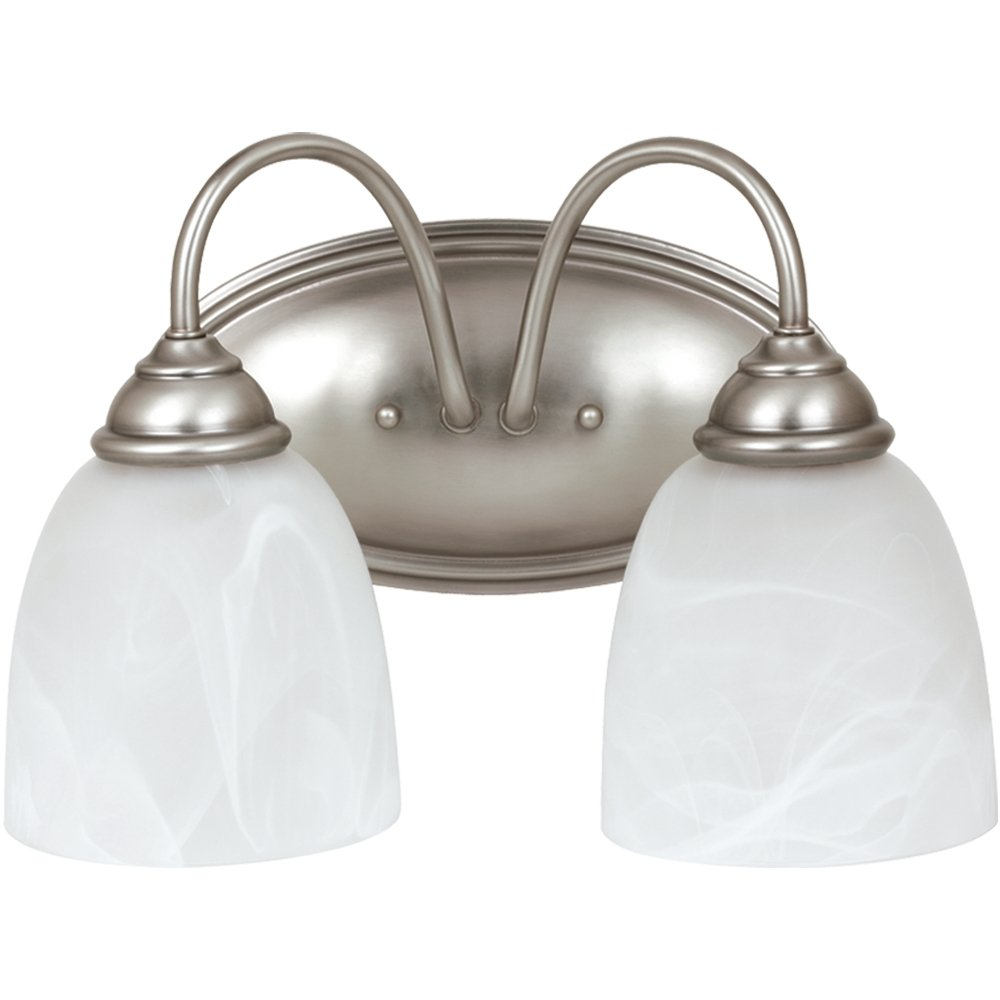Sea Gull Lighting 44317-965 Bath Vanity with Etched White Alabaster Glass Shades, Antique Brushed Nickel Finish