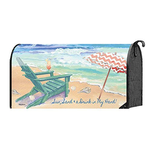 Sun Sand and a Drink in My Hand Adirondack Chair Standard Size Mailbox Cover Designed by Yerkes