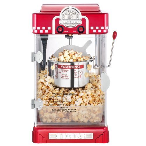 Great Northern Popcorn Company 6073 GNP Little Bambino Red GNP Little Bambino 2-1/2 Ounce Retro Style Popcorn Popper Machine