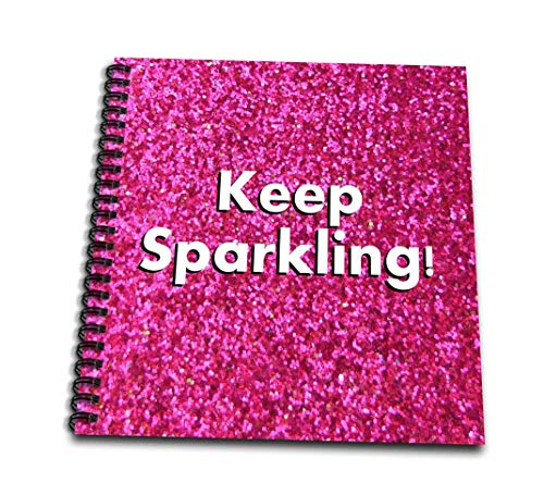 3dRose db_112891_3 Keep Sparkling-Fun Cute Girly hot Pink Faux Glitter Texture Graphic-Glam Glamorous Girls Bling-Mini Notepad, 4 by -