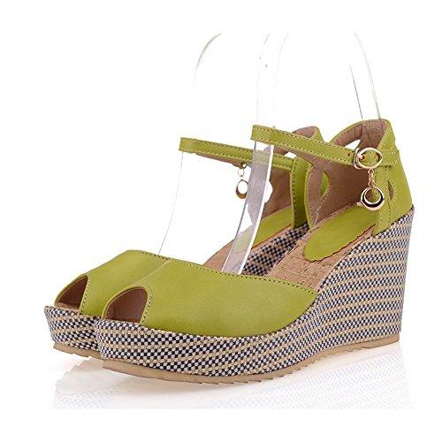 Material weiches VogueZone009 Peep Cyan Heel feste Wedge High Sandalen Mädchen öffnen PU Toes Plattform qqx8Rrz