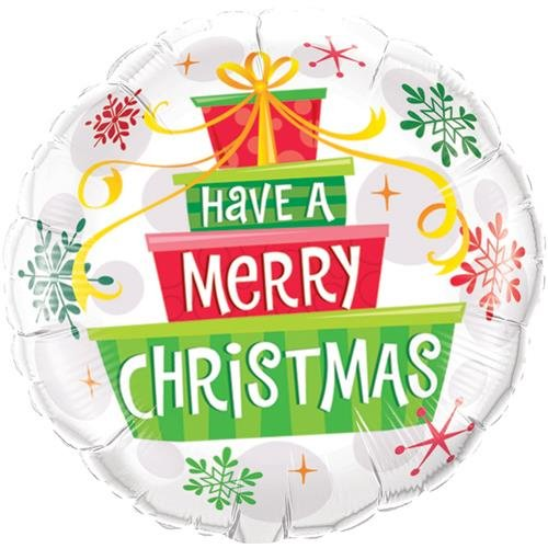Have A Very Merry Christmas Gifts & Snowflakes Qualatex 18 Inch Foil Balloon -  55085