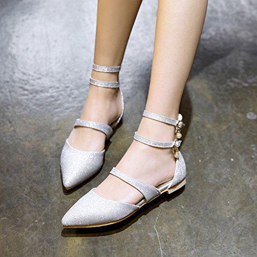 Aisun Damen Flach Paillette Silber Spitze Riemchen Sandale mit Schnalle Zehen Basic Perlen aarqwUpn