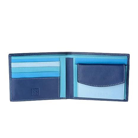 02a1786184 Portafoglio uomo in pelle Nappa colorato con portamonete e porta carte DUDU  Blu