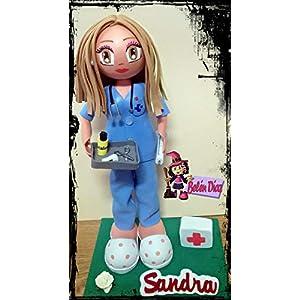 Fofucha personalizada Enfermera uniforme azul 16