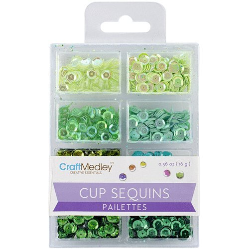Craft Medley Cup Sequins Pailettes, Go Green