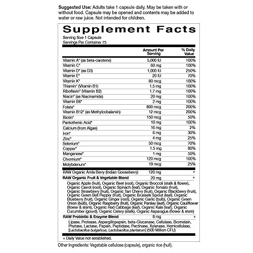 Garden of Life Vegetarian Multivitamin Supplement for Women Vitamin Code Raw One Whole Food Vitamin with Probiotics