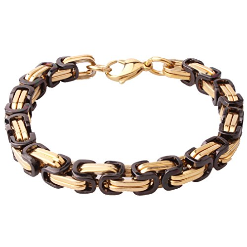 Stainless Steel Byzantine Chain Cool Men's Bracelet 4/5/8mm Gold Black Tone,7-11