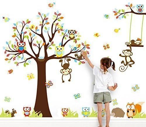 Wandtattoo Wandsticker Tiere Baum Löwe Wandaufkleber Deko Kinderzimmer Wald Baby