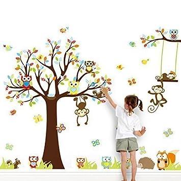 Grandora Xxl Wandtattoo Kinderzimmer Baum Mit Affen Auf Einer