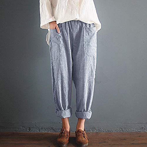 FAIYIWO Women Elastic Waist Striped Pockets Loose Linen Long Harem Pants Casual Overalls Trousers Plus Size FAIYIWO Blue 3XL Size