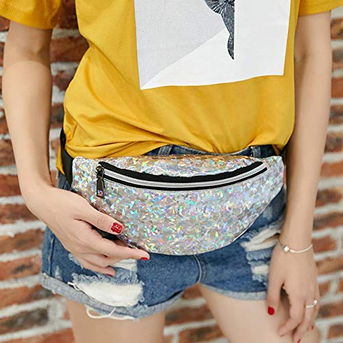 Chest Sequins Shoulder Waist Bags Silver Women Silver Everpert PU Sports Packs Leather 578q6x0pw