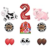 Barn Farm Animals 2nd Birthday Party Supplies Cow, Pig, Barn Balloon Decorations