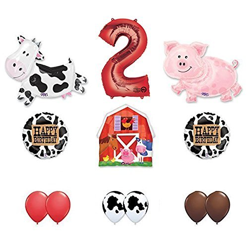 Barn Farm Animals 2nd Birthday Party Supplies Cow, Pig, Barn Balloon Decorations]()