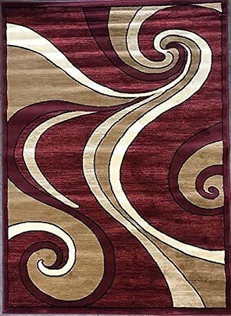 Amazon Com Bellagio Modern Area Rug Cranberry Red Swirl Design 144 4 Feet X 5 Feet 3 Inch Furniture Decor