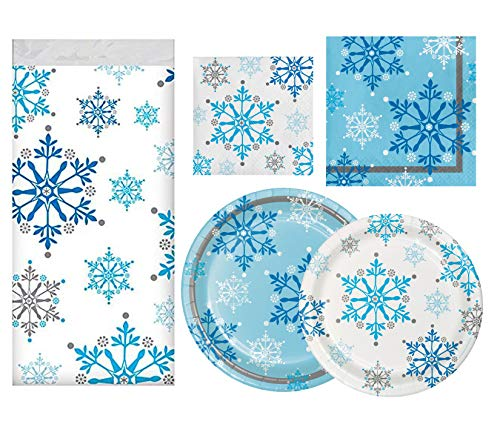 Christmas Holiday Party Supplies Pack | Snowflake Swirls Design | for Winter Wonderland & Frozen Birthday Parties | Holiday Disposable Dinnerware | Paper Plates Napkins Tablecloth | Tableware Serves - Table Frozen Party Decoration