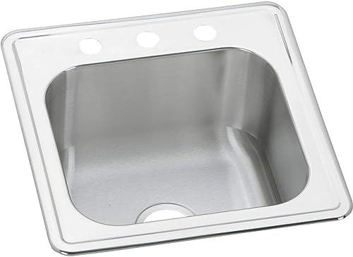 Elkay ESE2020100 0-Hole Gourmet 20-Inch x 20-Inch Single Basin Drop-In Stainless Steel Kitchen Sink