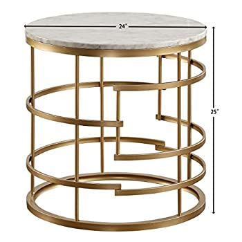 """Homelegance Brassica 24"""" Round Faux Marble Top End Table, Gold"""