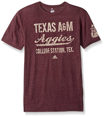 adidas NCAA Texas A&M Aggies Adult Men Stenciled Sweep Tri-Blend S/Tee, XX-Large, Classic Maroon Heathered - Mens College Big Logo Tee