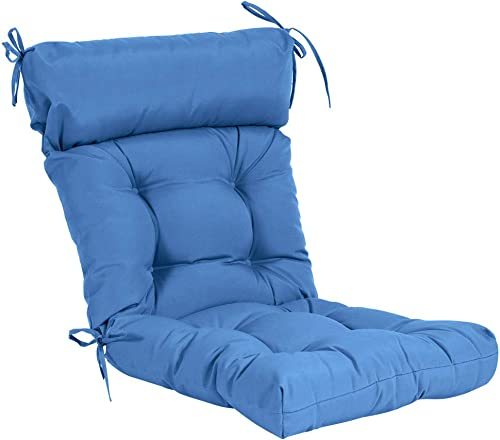 QILLOWAY Indoor/Outdoor High Back Chair Cushion ,Spring/Summer Seasonal All Weather Replacement Cushions. Marine Blue