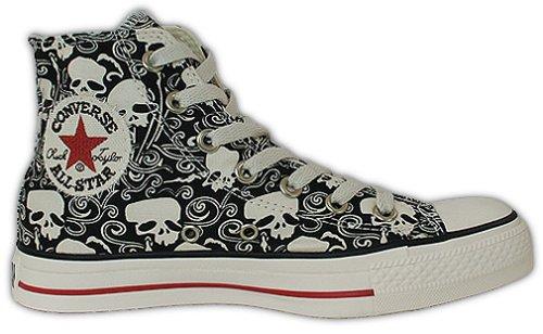 Converse All Star Skull Chuck Noir Salut Fleur Crânes 1u564 Taille 42.5 (uk 9)