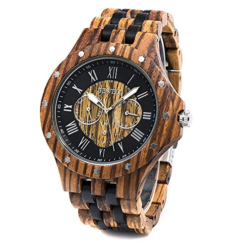 Men Wood Watch Quartz, Lightweight Vintage Men Wrist Watches with All Wood Strap