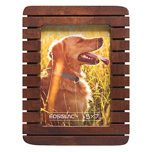 EosGlac 5x7 Picture Frame, Wood Finish with Glass Front, Tabletop and Wall Mounting, Vertically or Horizontally Display, Rustic Brown