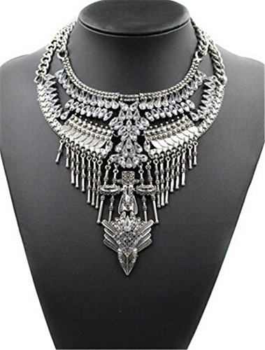 (Santfe Vintage Silver or Gold Long Boho Statement Necklace Trendy Bohemian Turkish for Women Accessories Jewelry (Silver-a))