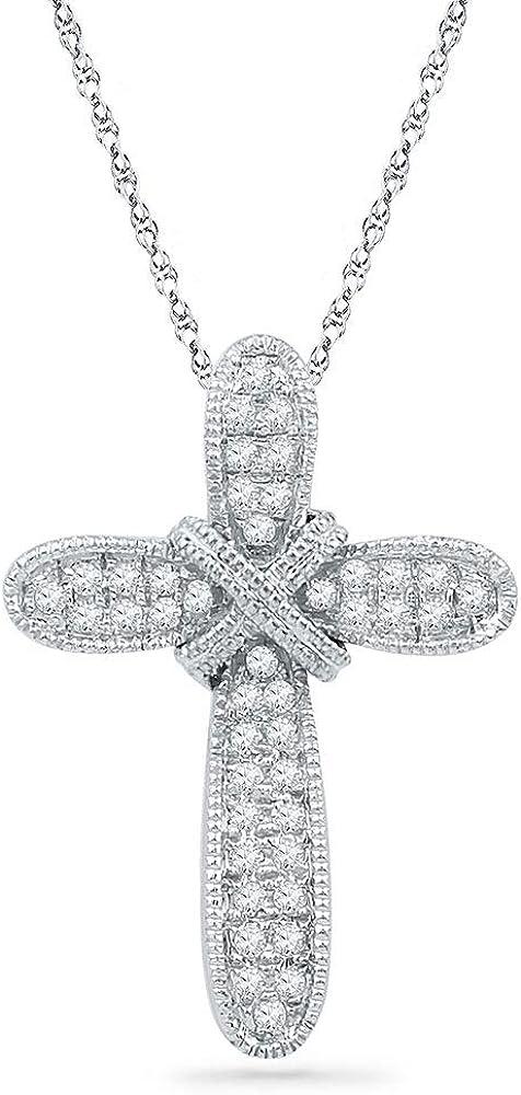 10k White Gold Diamond Bound Cross Religious Pendant 1//8 ct