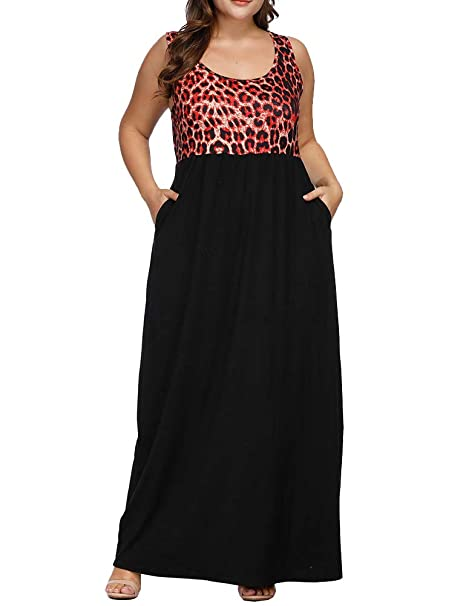 Allegrace Plus Size Maxi Dresses Leopard Print Sleeveless Casual Women Tank  Dress with Pockets