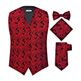 Men's 4 Piece Paisley Vest Set, with Bow Tie, Neck Tie & Pocket Hankie - (2XL (Chest 48), Red/Black)
