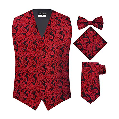 Men's 4 Piece Paisley Vest Set, with Bow Tie, Neck Tie & Pocket Hankie - (2XL (Chest 48), Red/Black) by S.H. Churchill & Co.