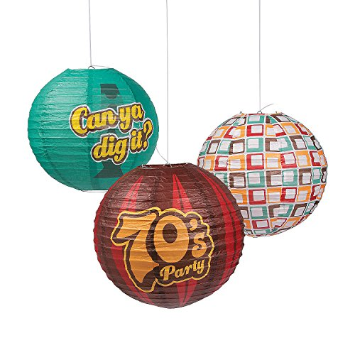 Fun Express - 70's Party Paper Lanterns for Party - Party Decor - Hanging Decor - Lanterns - Party - 6 Pieces]()