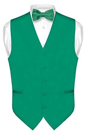 c91ccd1882fc Men's Dress Vest & Bowtie Solid Emerald Green Color Bow Tie Set for ...