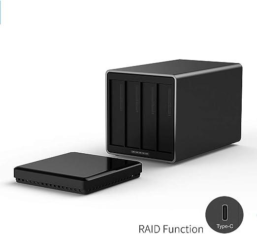 AXELEL Unidad de Disco Duro de 4 bahías Tipo C con Raid Support Almacenamiento de 40TB 5 Gbps UASP con Adaptador de 12V5A Caja de HDD Gratuita: Amazon.es: Hogar