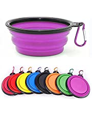 Collapsible Dog Bowl, Collapsible Dog Water Bowls for Cats Dogs, Portable Pet Feeding Watering Dish,Portable Dog Water Food Bowl with Carabiner, Pet Feeding Cup Dish for Traveling, Walking, Parking