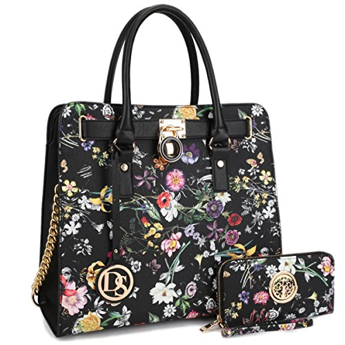 DASEIN Fashion Top Belted Tote Satchel Designer Padlock Handbag Shoulder Bag for Women (2553W-black floral)