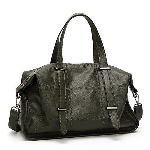 DHFUD Bolso De Hombro De La Mujer Messenger Bag Fashion De Gran Capacidad Darkgreen