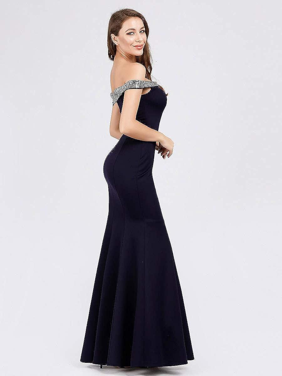 Ever-Pretty Abiti da Cerimonia Sirena dalla Spalla con Paillettes Lungo Elegante Donna 07941