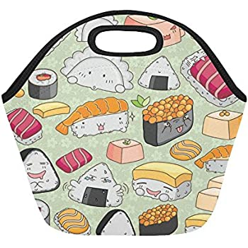 InterestPrint Cute Sushi Emoticon Face Insulated Lunch Tote Bag Reusable Neoprene Cooler, Kawaii Japanese Food Portable Lunchbox Handbag for Men Women Adult Kids Boys Girls