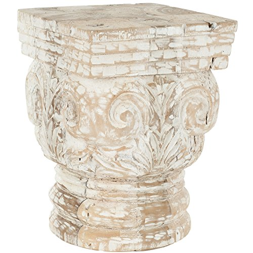 Safavieh Home Collection Pecos Natural and White Stool For Sale