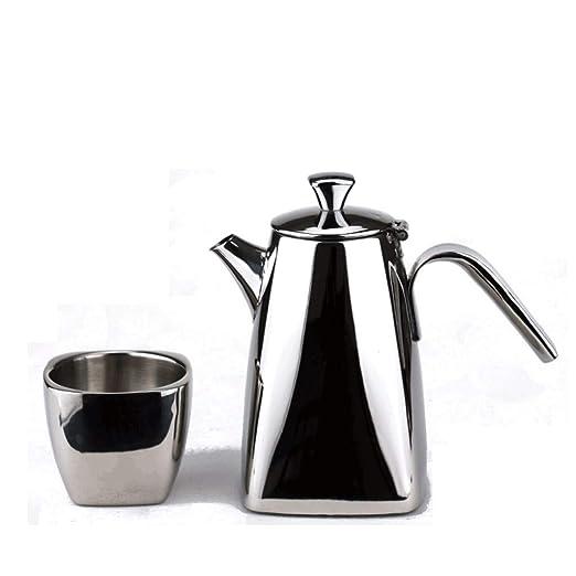 FYJK Tetera Cafetera de Mano de 600 ml + Taza de Acero Inoxidable ...