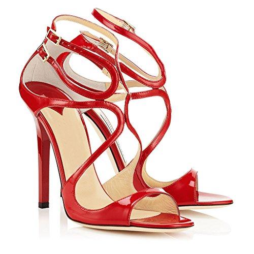 de grande taille Fashion Femmes talons Open pointé dames Stiletto Kaitzen mariage Toe sandales hauts par rouges chaussures à pq6FO