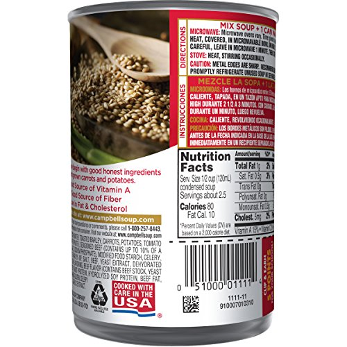 Campbells Condensed Beef with Vegetables & Barley Soup, 10.5 Oz, Pack of 1
