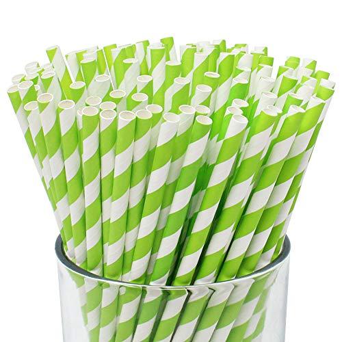 Just Artifacts 100pcs Premium Biodegradable Striped Paper Straws (Striped, Kiwi)