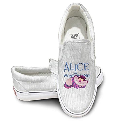 GD Alice In Cat Wonderland Comfort Unisex Flat Canvas Shoes Sneaker 42 White